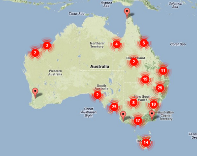 australian bushfire map about